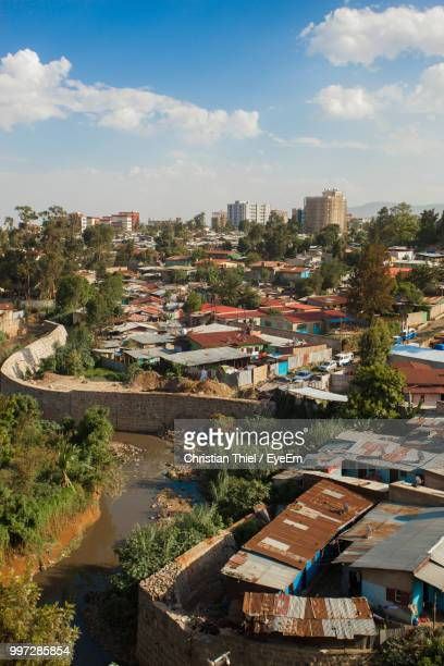 high angle view of townscape against sky - addis ababa stock pictures, royalty-free photos & images
