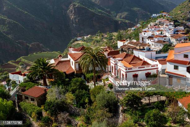 high angle view of townscape and trees in village - tejeda stock pictures, royalty-free photos & images