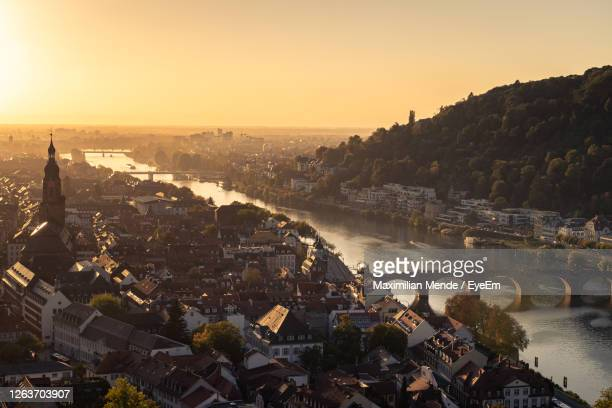 high angle view of townscape by river against sky - baden württemberg stock pictures, royalty-free photos & images