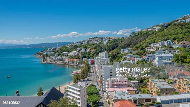 high angle view of townscape by sea against sky - wellington new zealand stock photos and pictures