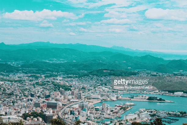 high angle view of townscape by sea against sky - townscape stock pictures, royalty-free photos & images