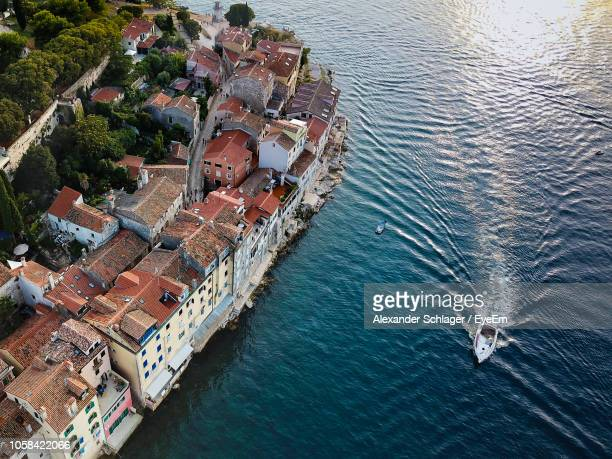 high angle view of townscape by sea - adriatic sea stock pictures, royalty-free photos & images