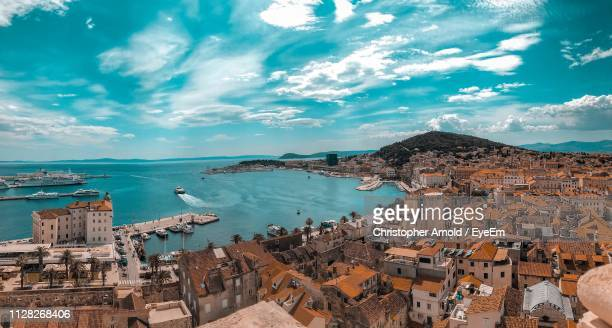 high angle view of townscape by sea - croatia stock pictures, royalty-free photos & images