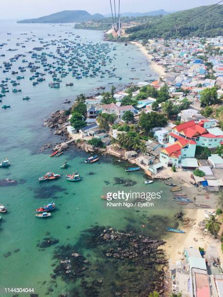 high angle view of townscape by sea - khanh ngo stock pictures, royalty-free photos & images