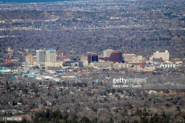 high angle view of townscape - colorado springs stock pictures, royalty-free photos & images