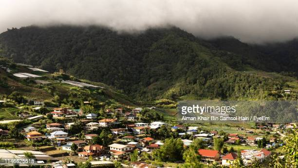 high angle view of townscape - kota kinabalu stock pictures, royalty-free photos & images