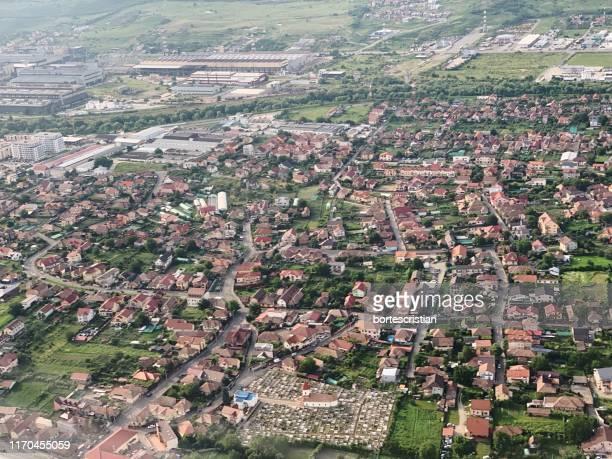 high angle view of townscape - bortes fotografías e imágenes de stock