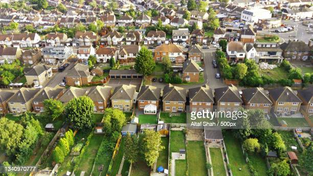 high angle view of townscape,luton,united kingdom,uk - building exterior stock pictures, royalty-free photos & images