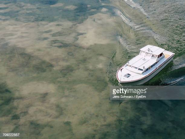 High Angle View Of Toy Boat In Lake