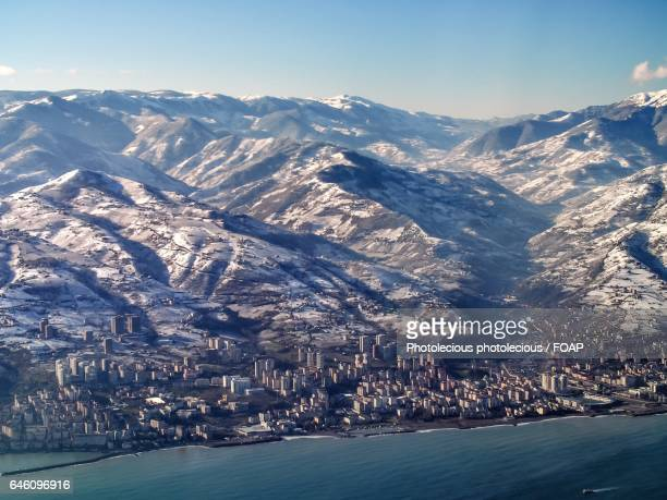 high angle view of trabzon city - trabzon stock photos and pictures