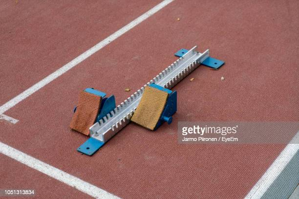 High Angle View Of Track Starting Block