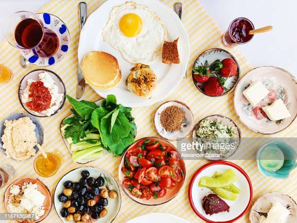 high angle view of traditional turkish breakfast served in a restaurant - 食卓 ストックフォトと画像