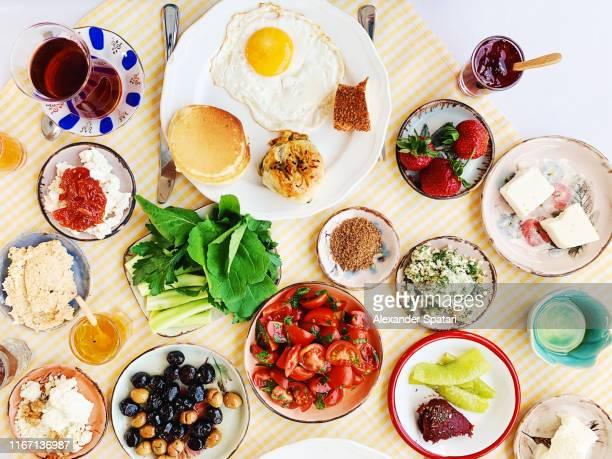 high angle view of traditional turkish breakfast served in a restaurant - lysförmåga bildbanksfoton och bilder