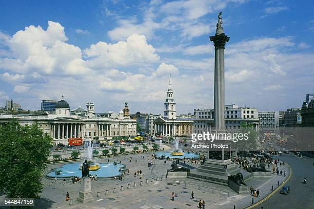 A high angle view of Trafalgar Square and Nelson's Column London circa 1960