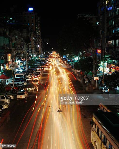 High Angle View Of Traffic At Night