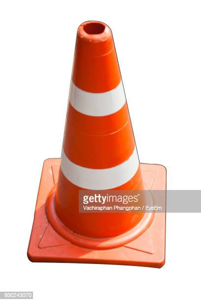 high angle view of traffic cone over white background - traffic cone stock pictures, royalty-free photos & images