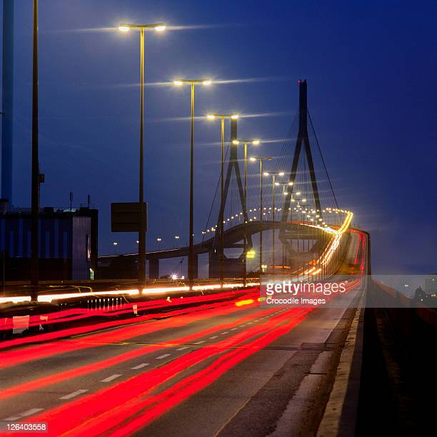 High angle view of traffic in motion at night, Germany