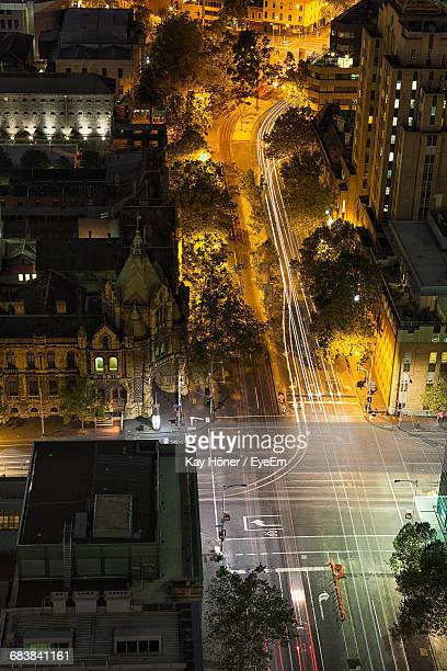 High Angle View Of Traffic In Street At Night