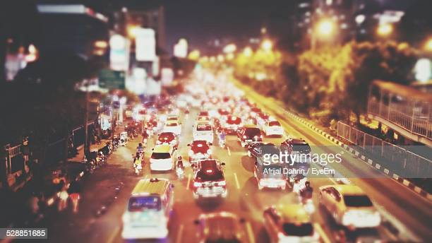 High Angle View Of Traffic Jam In City Street