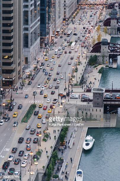 High Angle View Of Traffic On Chicago City Street
