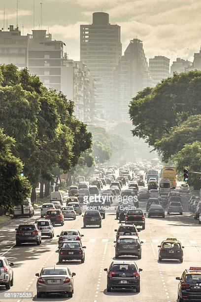 high angle view of traffic on city street - smog stock pictures, royalty-free photos & images