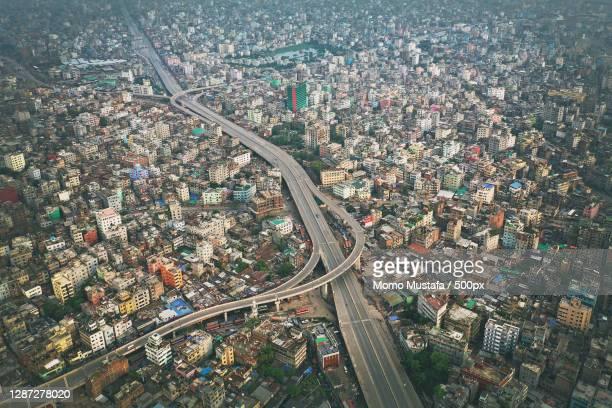 high angle view of traffic on road in city,mayor mohammad fanif flyover,dhaka,bangladesh - bangladesh stockfoto's en -beelden