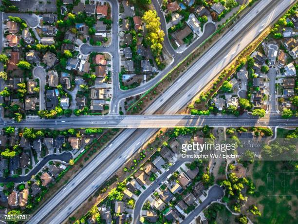 high angle view of traffic on road - santa clara county california stock pictures, royalty-free photos & images