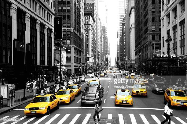 high angle view of traffic on street in city - isolated color stock pictures, royalty-free photos & images