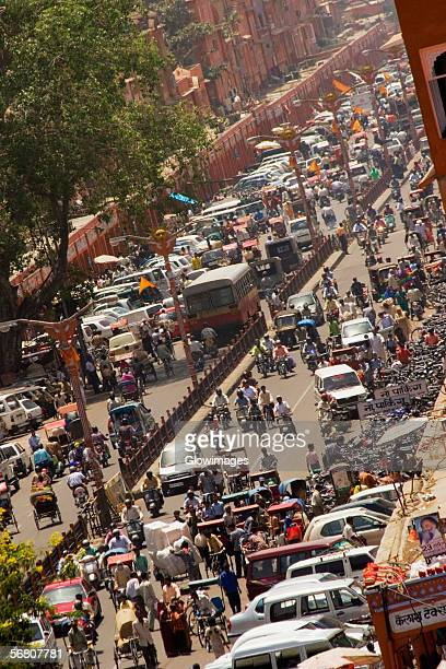 High angle view of traffic on the streets, Jaipur, Rajasthan, India