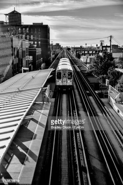 High Angle View Of Train At Railroad Station In City