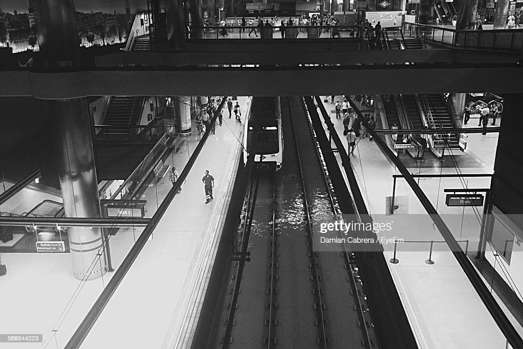 High Angle View Of Train At Railroad Station : Stock Photo