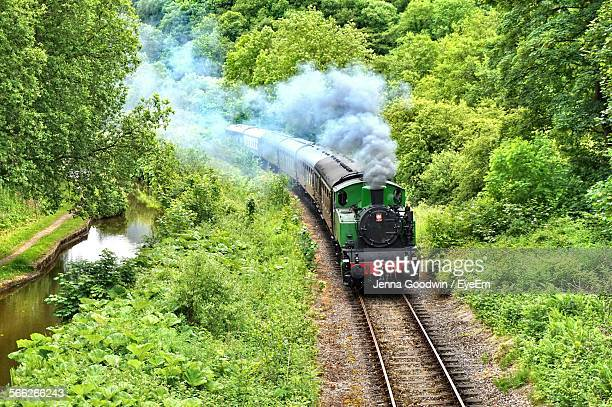 high angle view of train moving on tracks amidst trees - locomotive stock photos and pictures