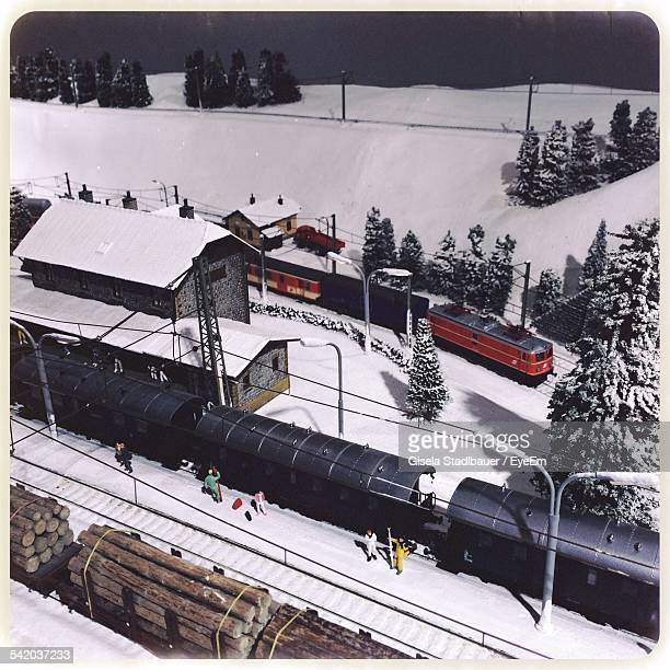 High Angle View Of Trains At Railroad Station Platform During Winter