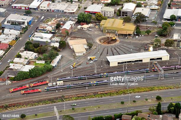 high angle view of trains at shunting yard in city - ジーロング ストックフォトと画像
