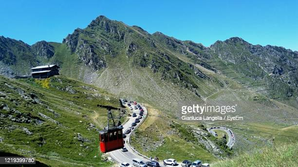 high angle view of transfagarasan highway at balea lake. - gianluca langella imagens e fotografias de stock
