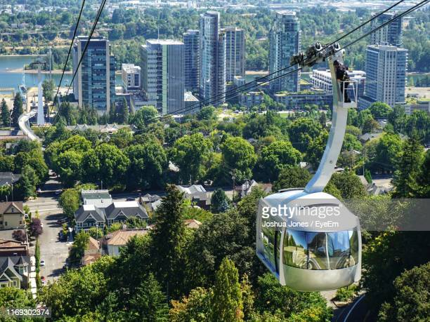 high angle view of trees and buildings in city - portland oregon stock pictures, royalty-free photos & images