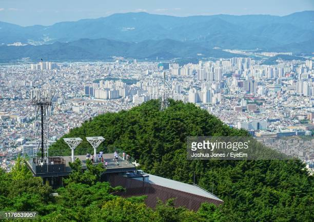 high angle view of trees and buildings in city - daegu stock pictures, royalty-free photos & images