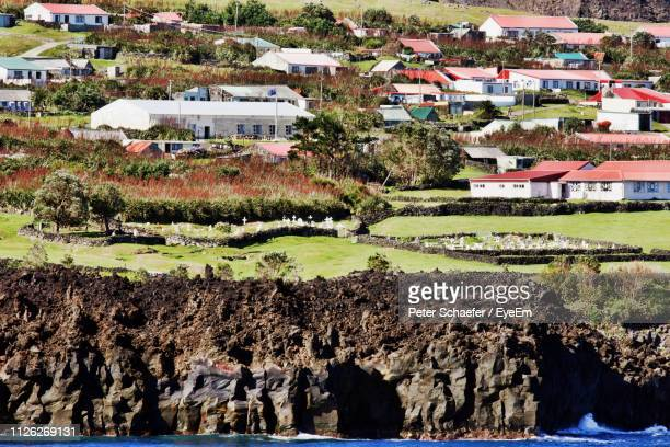 high angle view of trees and houses in city - tristan da cunha eiland stockfoto's en -beelden