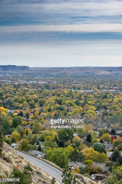 high angle view of trees and landscape against sky - billings montana stock pictures, royalty-free photos & images