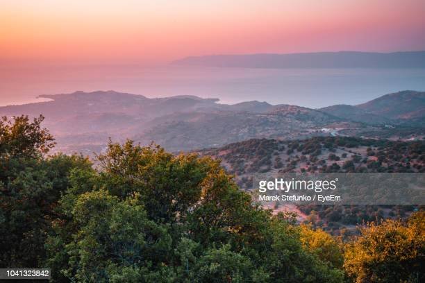 high angle view of trees and mountains against sky during sunset - marek stefunko stock photos and pictures