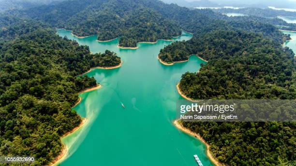 high angle view of trees and mountains - surat thani province stock pictures, royalty-free photos & images