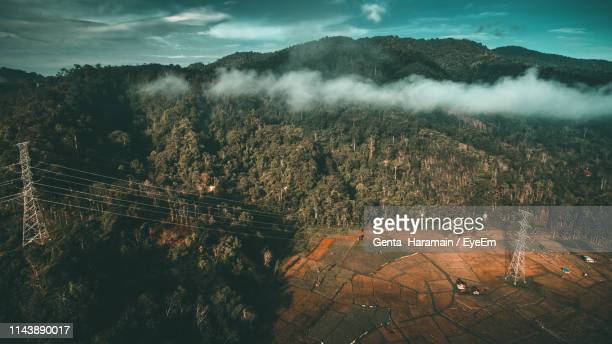 High Angle View Of Trees On Landscape Against Sky