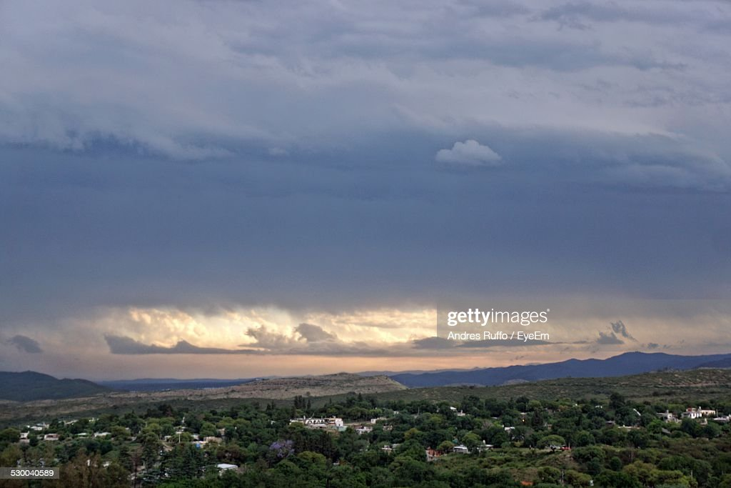 High Angle View Of Trees On Landscape Against Sky : Stock Photo