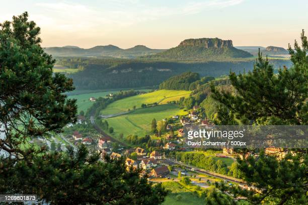 high angle view of trees on landscape against sky, stadt wehlen, germany - stadt stock pictures, royalty-free photos & images