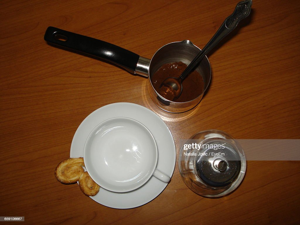 High Angle View Of Turkish Coffee On Wooden Table : Stock Photo