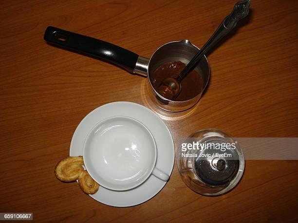High Angle View Of Turkish Coffee On Wooden Table