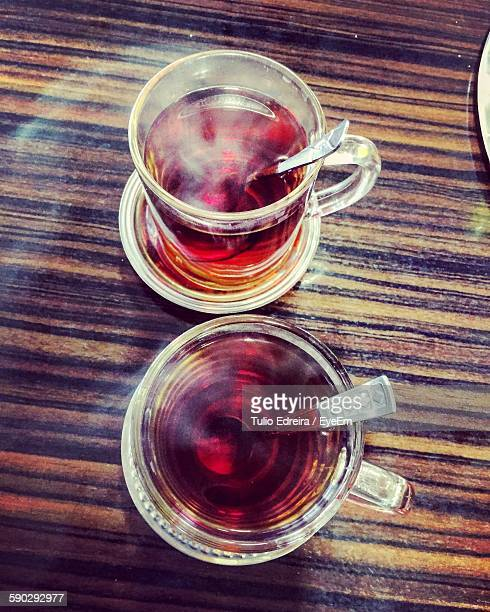 High Angle View Of Turkish Tea Served In Cup
