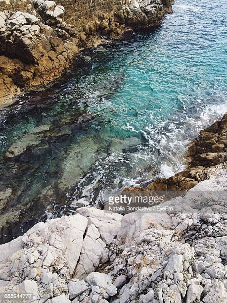 High Angle View Of Turquoise Water Between Rocks