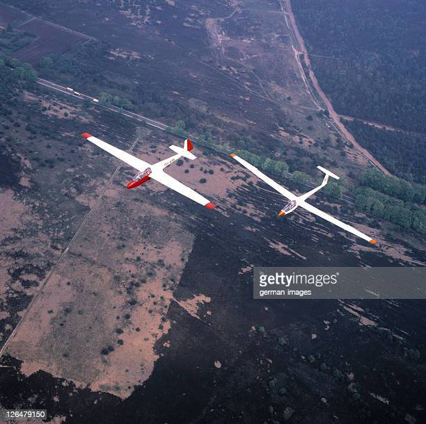 High angle view of two airplanes in flight