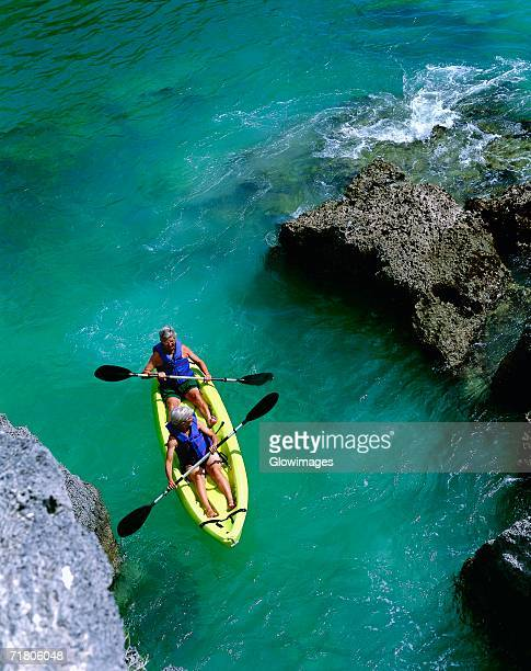 High angle view of two people rafting in the sea, Bermuda